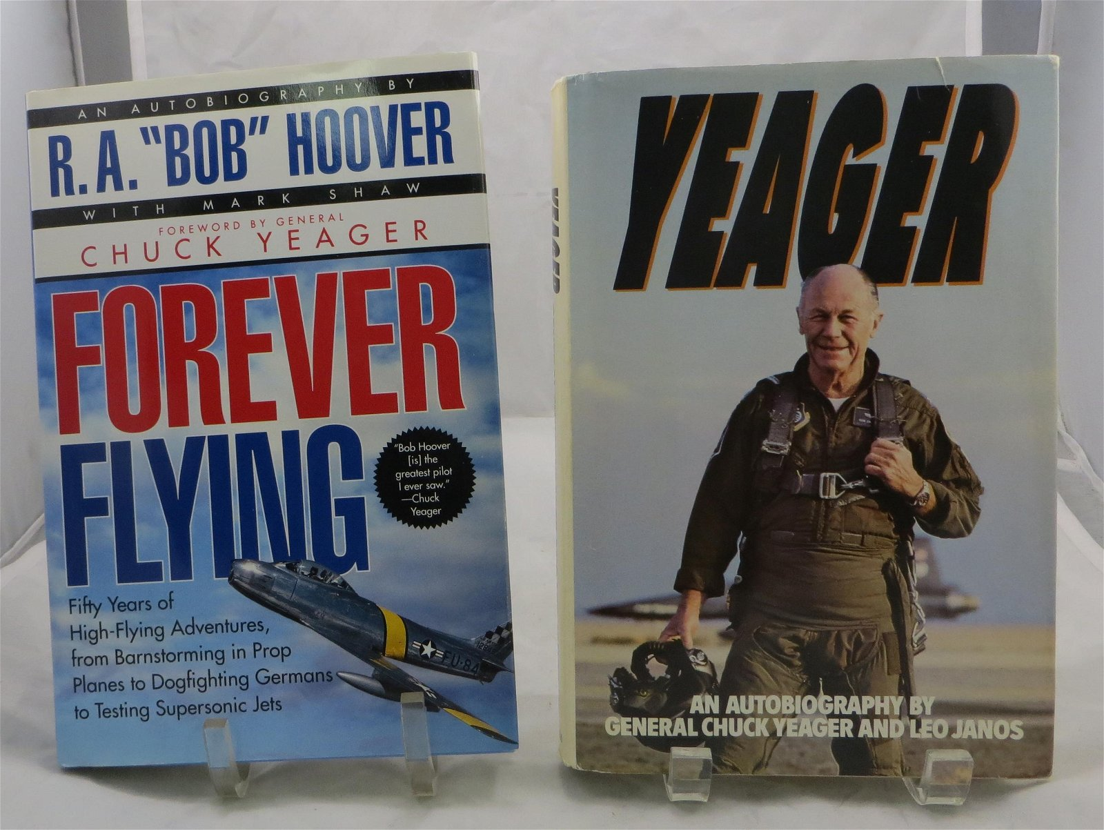 (2) FAMOUS AVIATOR AUTOBIOGRAPHIES:  HOOVER & YEAGER,