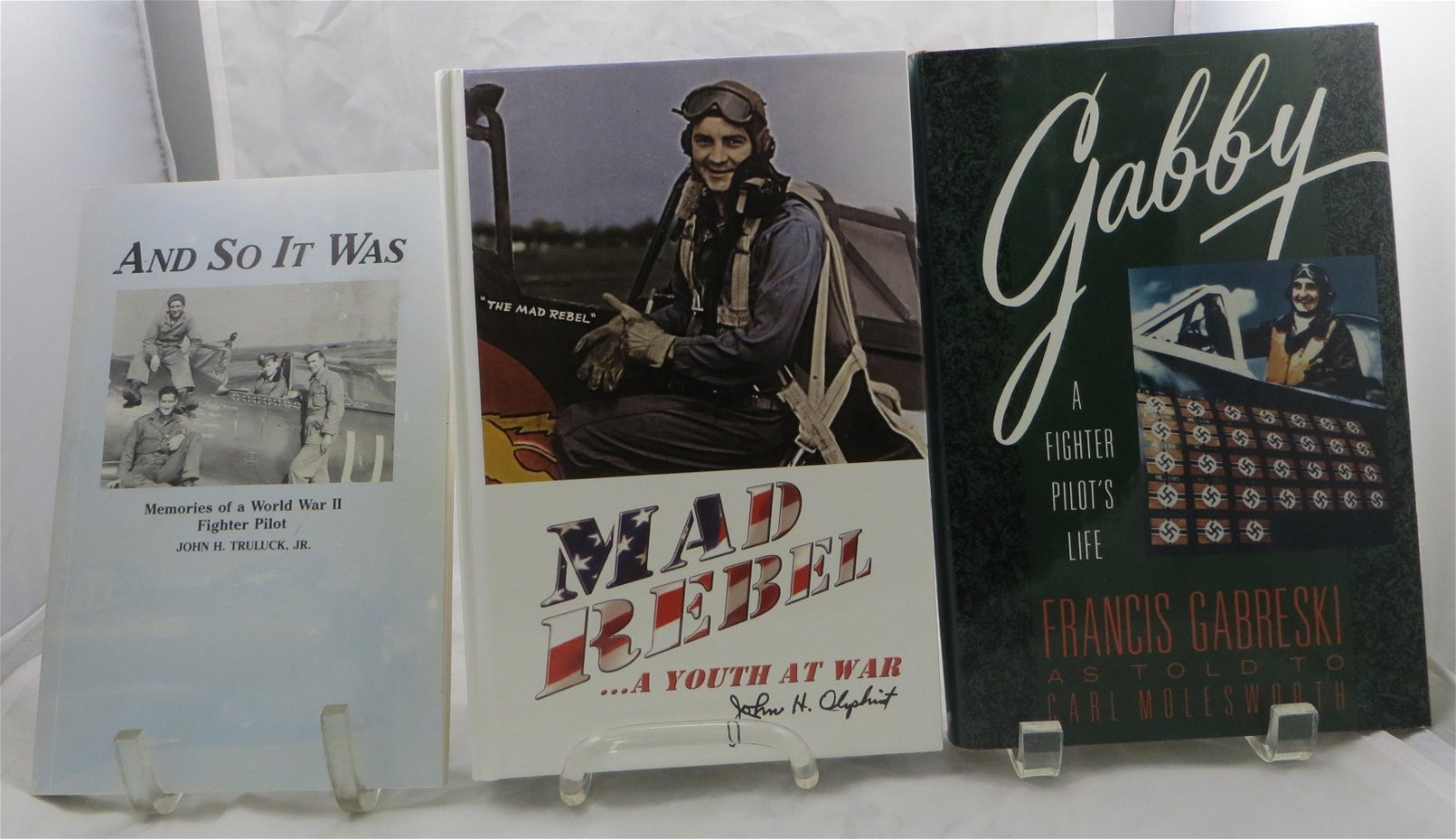 (3) WW2 AVIATION ACE BOOKS: GABRESKI, OLIPHINT, TRULUCK
