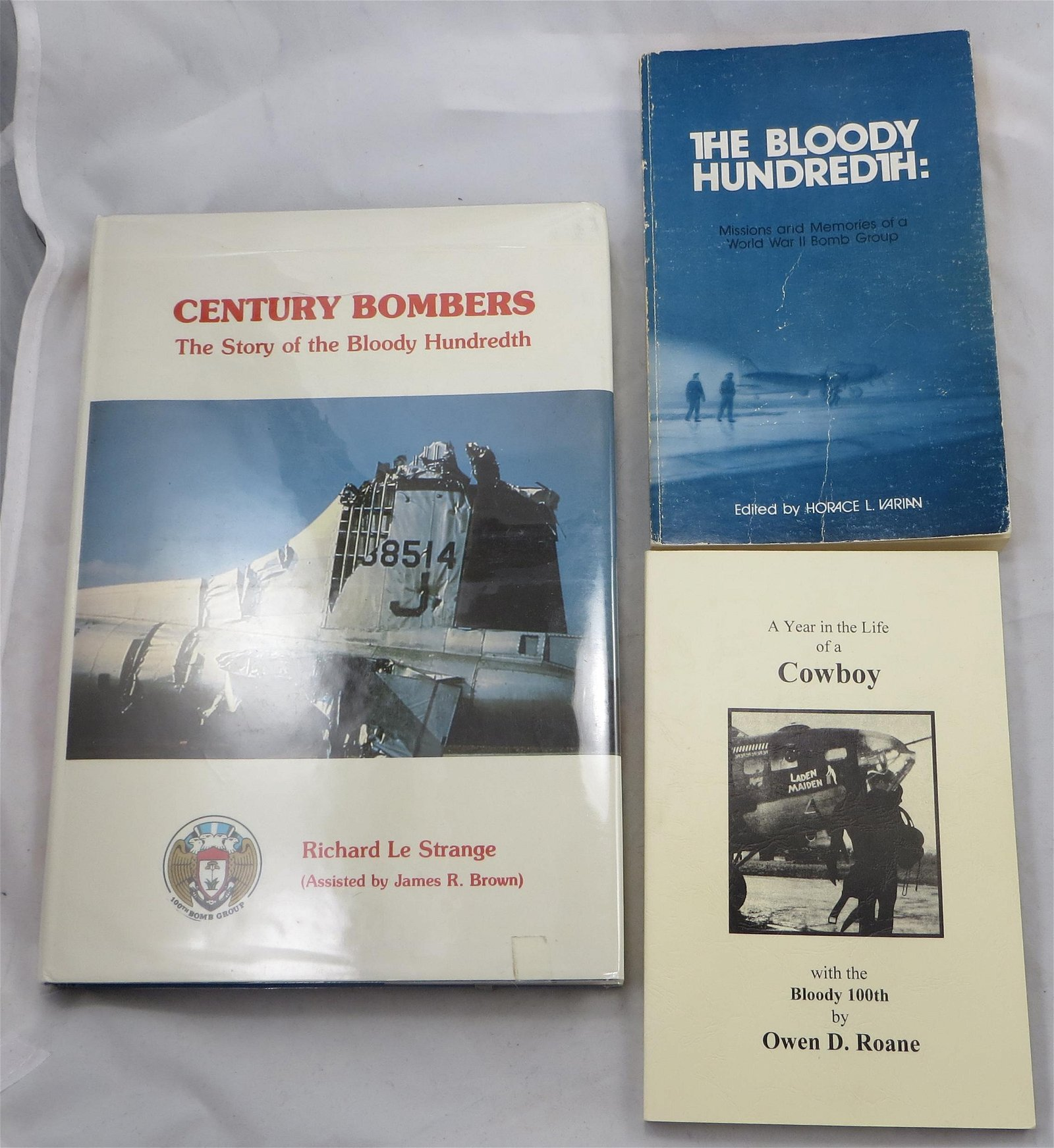 """(3) WW2 BOOKS - """"BLOODY 100TH"""" THEME, SIGNED"""