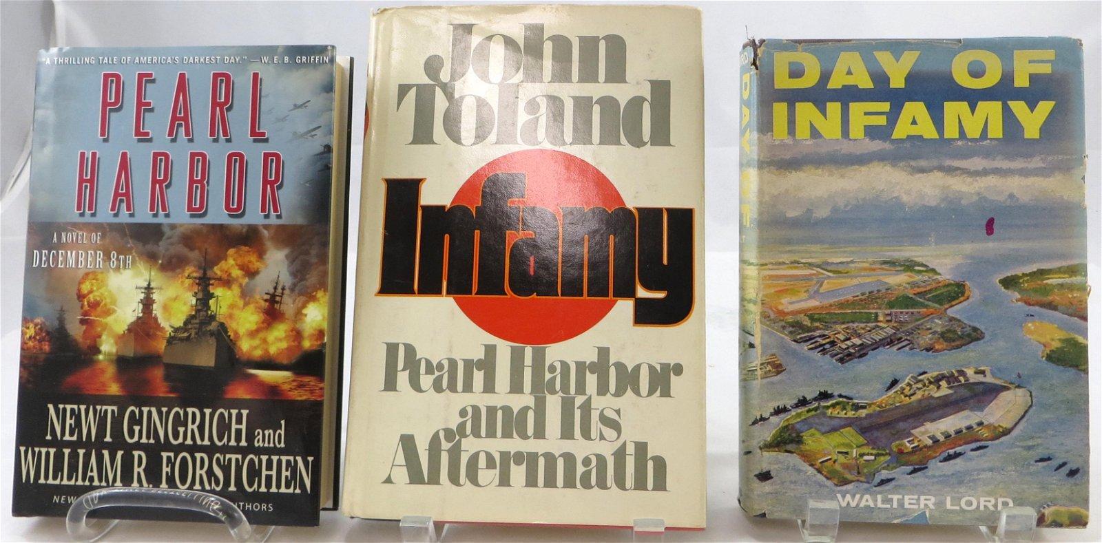 (3) WW2 BOOKS - PEARL HARBOR THEME BOOKS - GINGRICH &