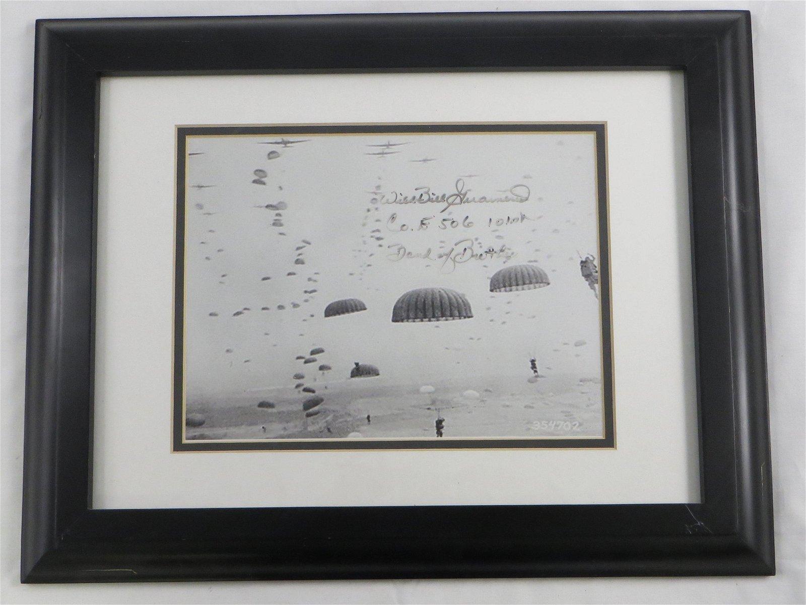 (2) PCS. WW2 SERGEANT SIGNED PHOTO & PRINT