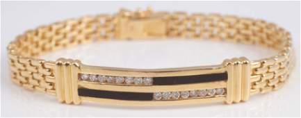 GOLD, DIAMOND & ONYX BRACELET
