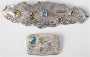 (2) ARTISTIC STERLING BROOCHES