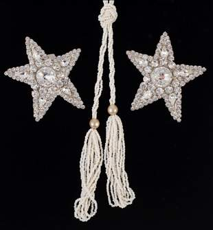 PAIR YVES ST.  LAURENT  RHINESTONE EARRINGS & FLAPPER