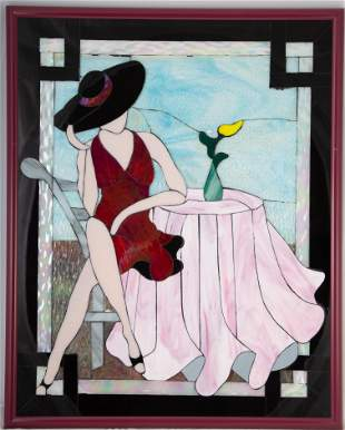 "CRAFT MADE GLASS MOSAIC PANEL ""GLASSY LADY"""