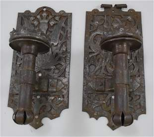 PAIR OF MEDIEVAL STYLE CANDLE WALL SCONCES