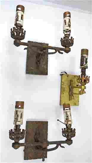 SET OF (3) ARTS & CRAFTS WALL SCONCES