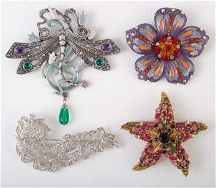 (5) CONTEMPORARY SIGNED COSTUME PINS