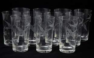 LOT OF CLEAR GLASS:  ICE BUCKET, STEMS & TUMBLERS, ETC.