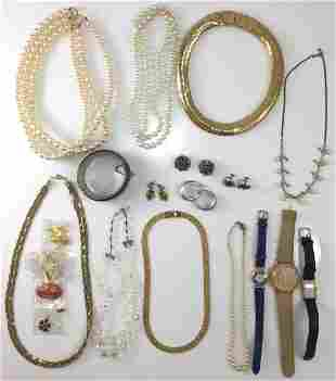 (20+) PCS. COSTUME JEWELRY & WATCH ASSORTMENT