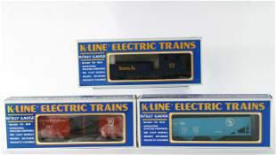 (3) K-LINE O GAUGE CARS with ORIGINAL BOXES