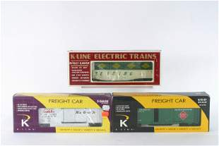 (3) K-LINE FREIGHT CARS, ETC with ORIGINAL BOXES