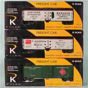 (3) K-LINE O GAUGE REFFER CARS in ORIGINAL BOXES