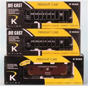 (3) K-LINE PRR O GAUGE FREIGHT CARS IN ORIGINAL BOXES
