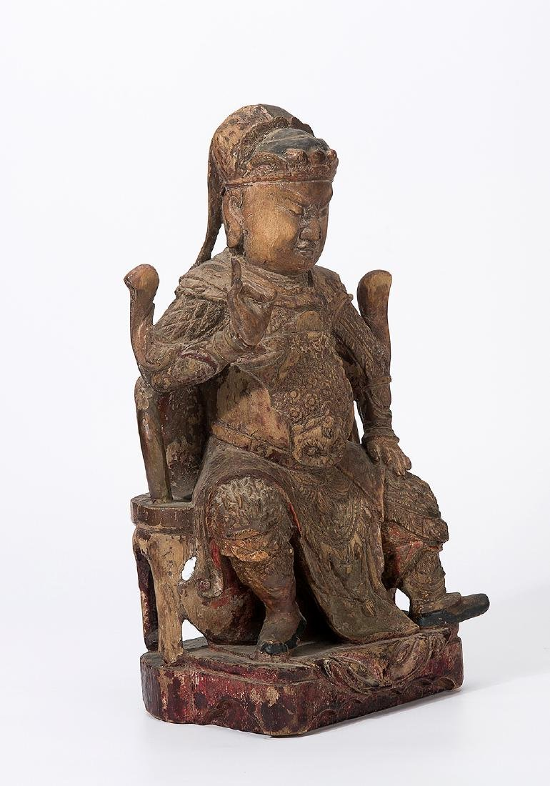 CHINA QING DYNASTY 18TH CENTURY A CARVED WOOD FIGURE OF - 2