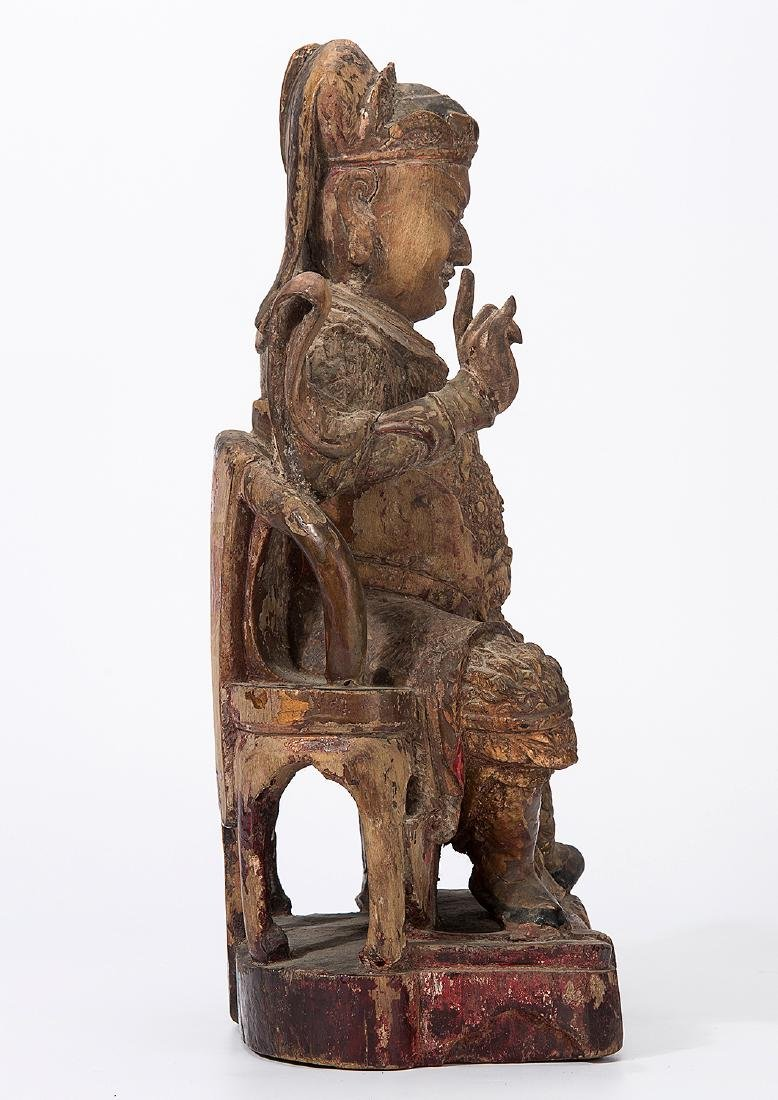 CHINA QING DYNASTY 18TH CENTURY A CARVED WOOD FIGURE OF - 4