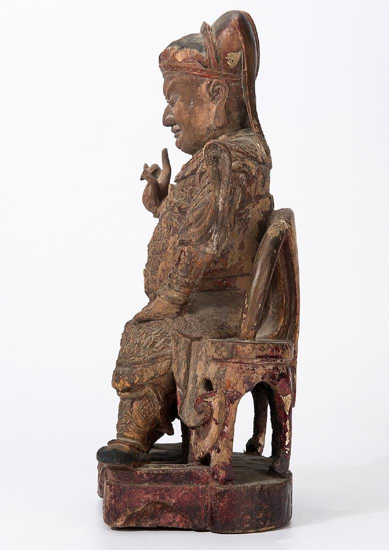 CHINA QING DYNASTY 18TH CENTURY A CARVED WOOD FIGURE OF - 5