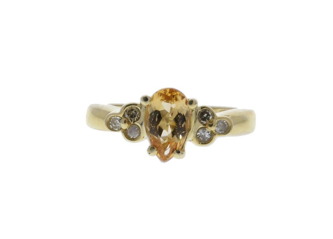Golden Topaz/ Round  Diamond Ring