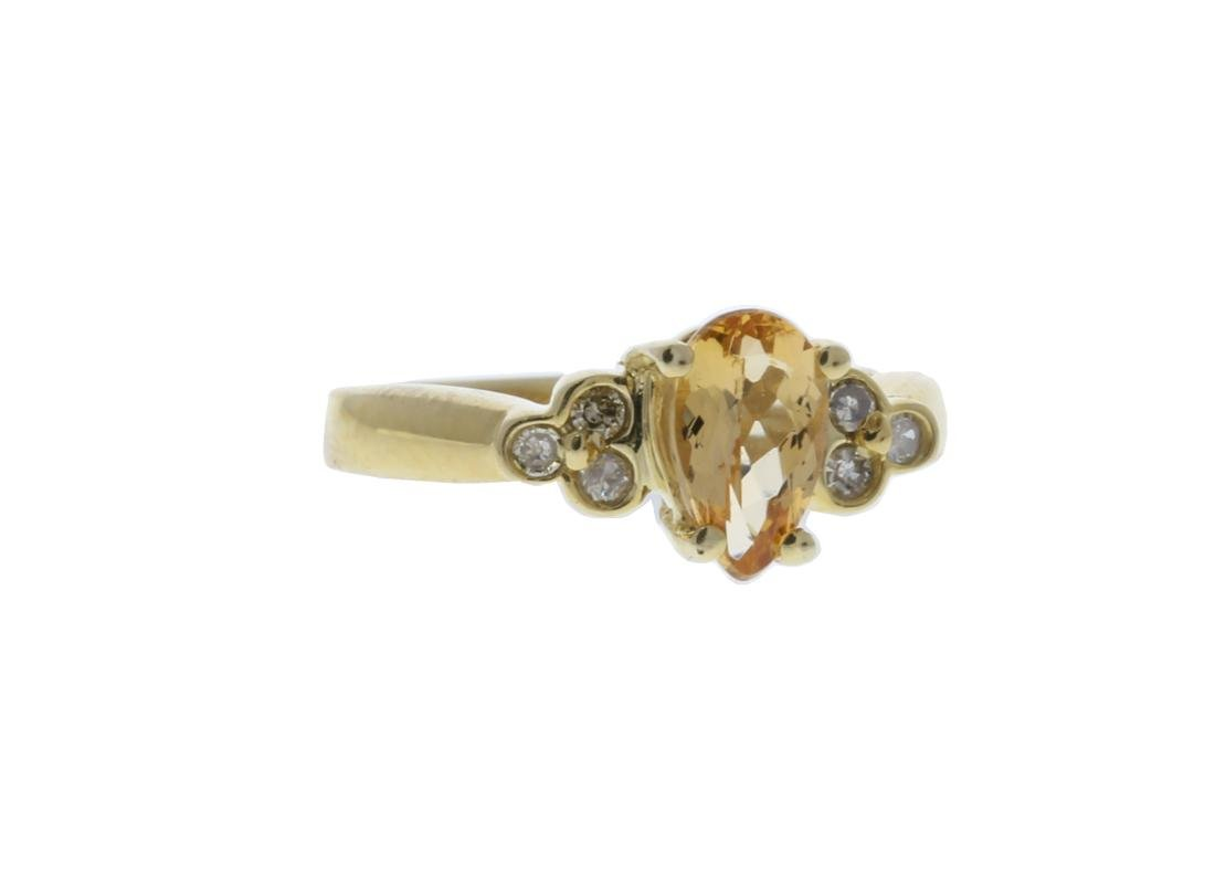 Golden Topaz/ Round  Diamond Ring - 2