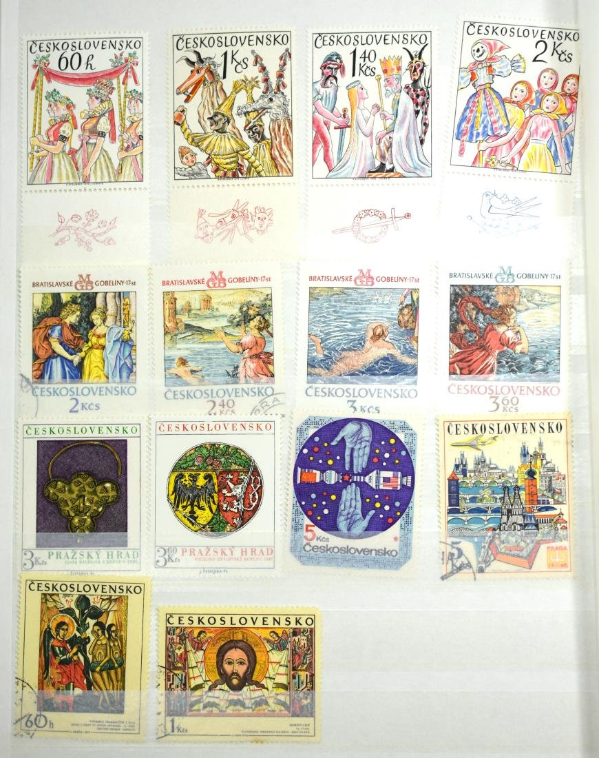 French and Czech Stamp Albums containing tens of stamps - 10