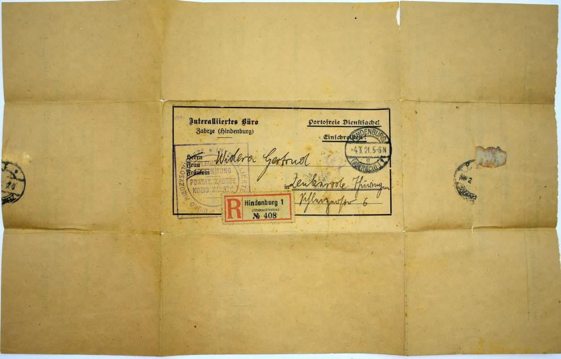 ..  Register mail cover 1921, Hindernburg with voting - 3