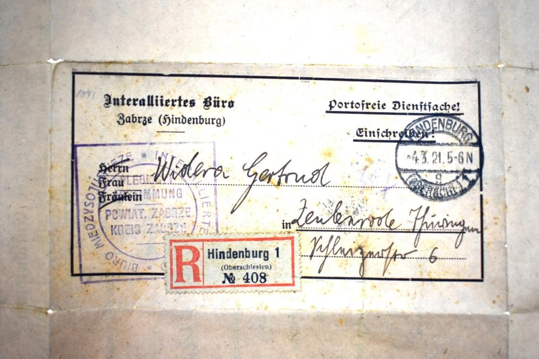 ..  Register mail cover 1921, Hindernburg with voting - 4