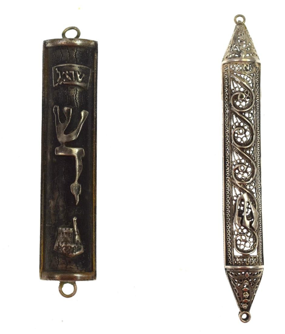 Pair,  of silver mezuzot, filigree and Tower of David