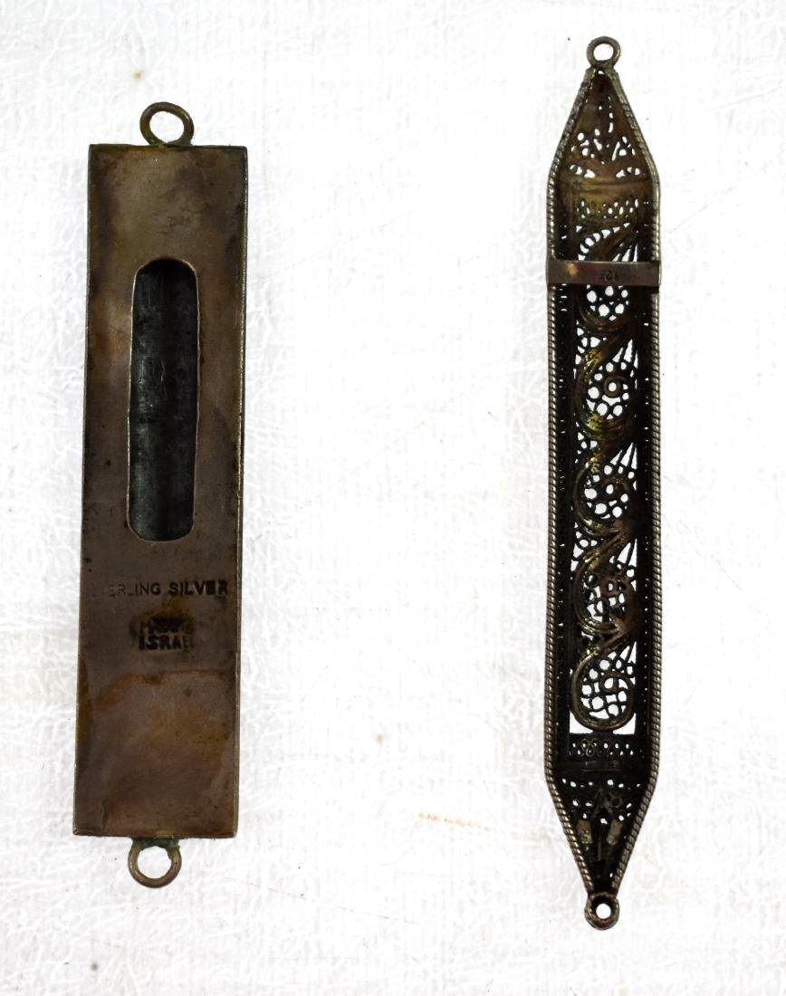 Pair,  of silver mezuzot, filigree and Tower of David - 2