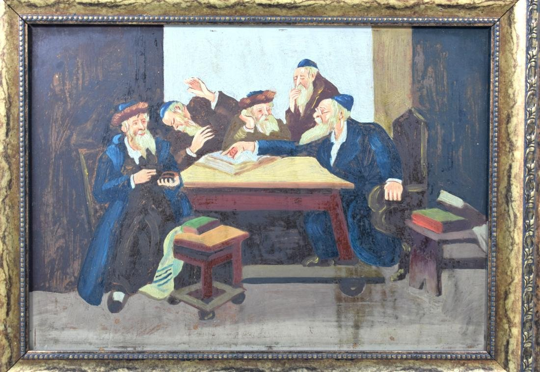 .  Oil painting on plywood, Rabbis learning Torah, size