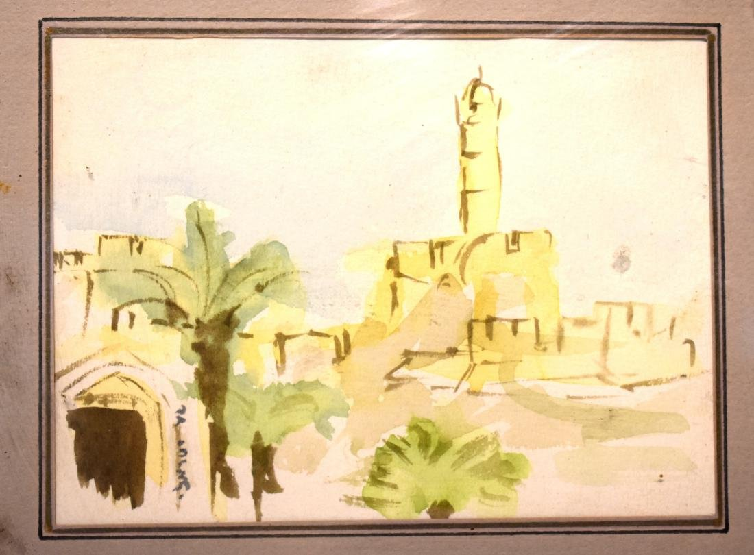 .Small watercolor picture, signed, Israeli, size: 11