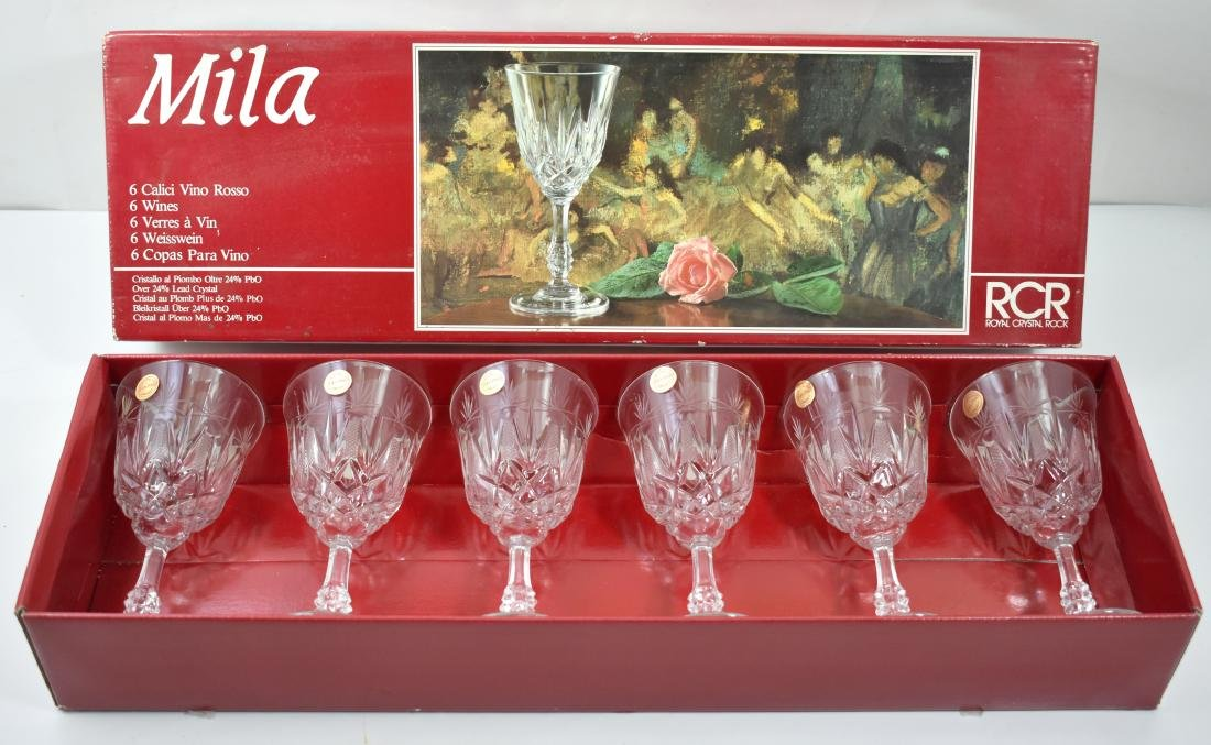 .  Set of 6 crystal wine glasses, present for Passover