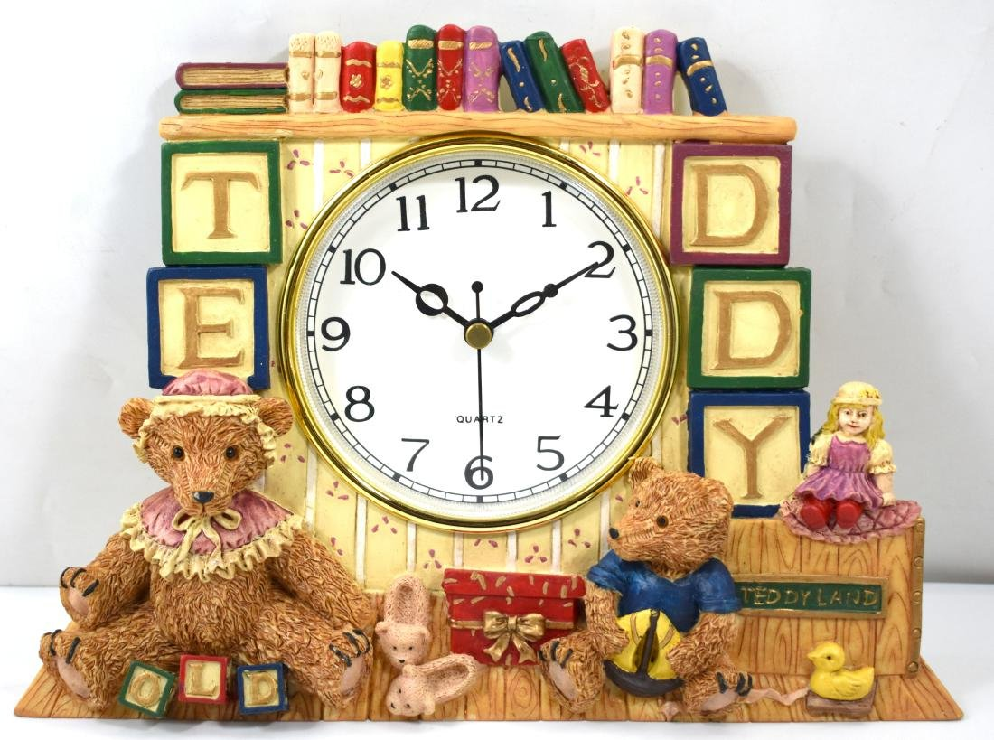.  Ceramic clock, Teddybear, for wall mounting. Size