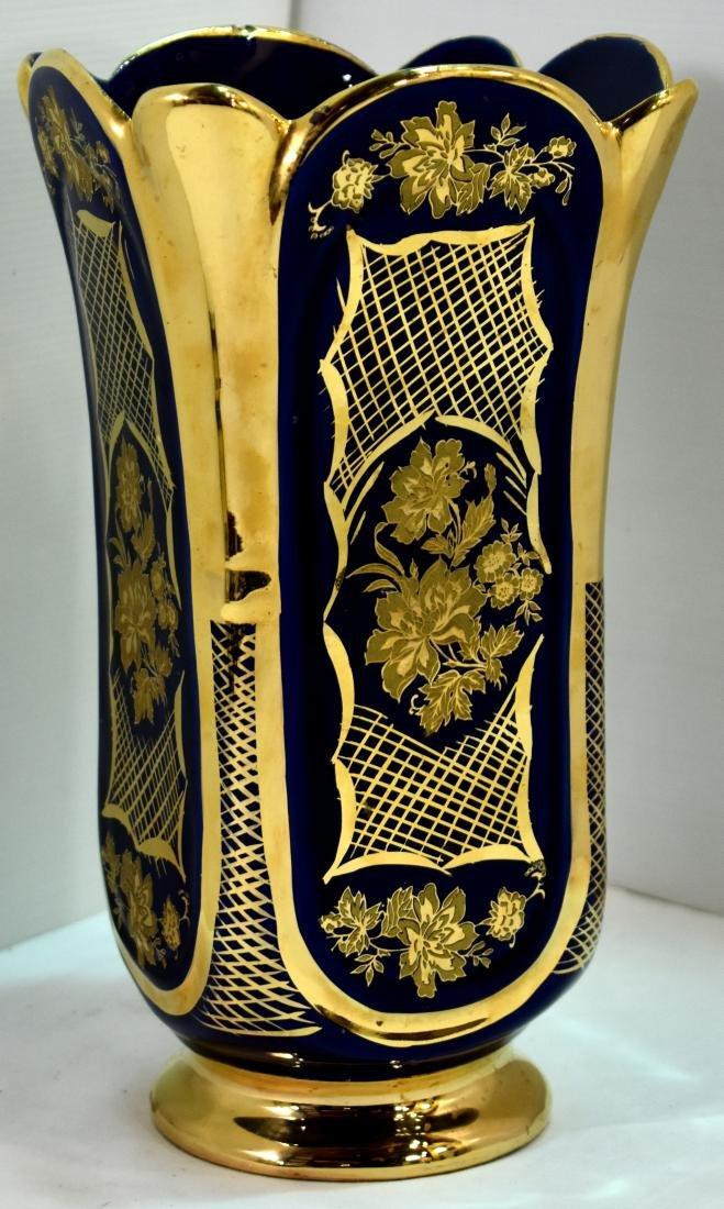 .  blue vase + gold cobalt, marked, size 29
