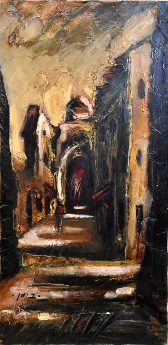 Oil painting on canvass, street in Jerusalem, signed by