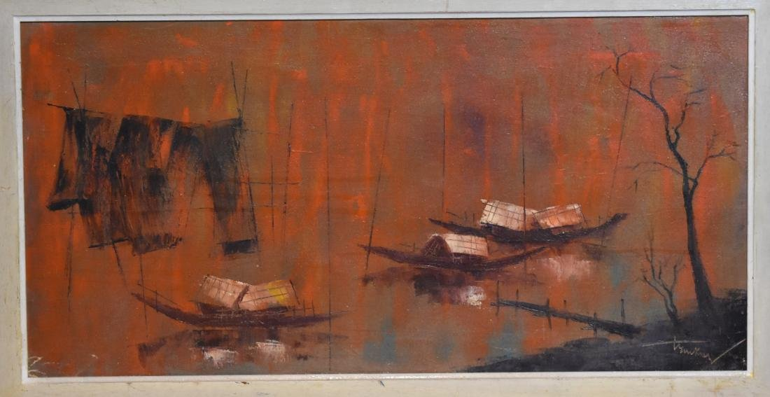 .       oil painting on canvass, signed, size 35*70