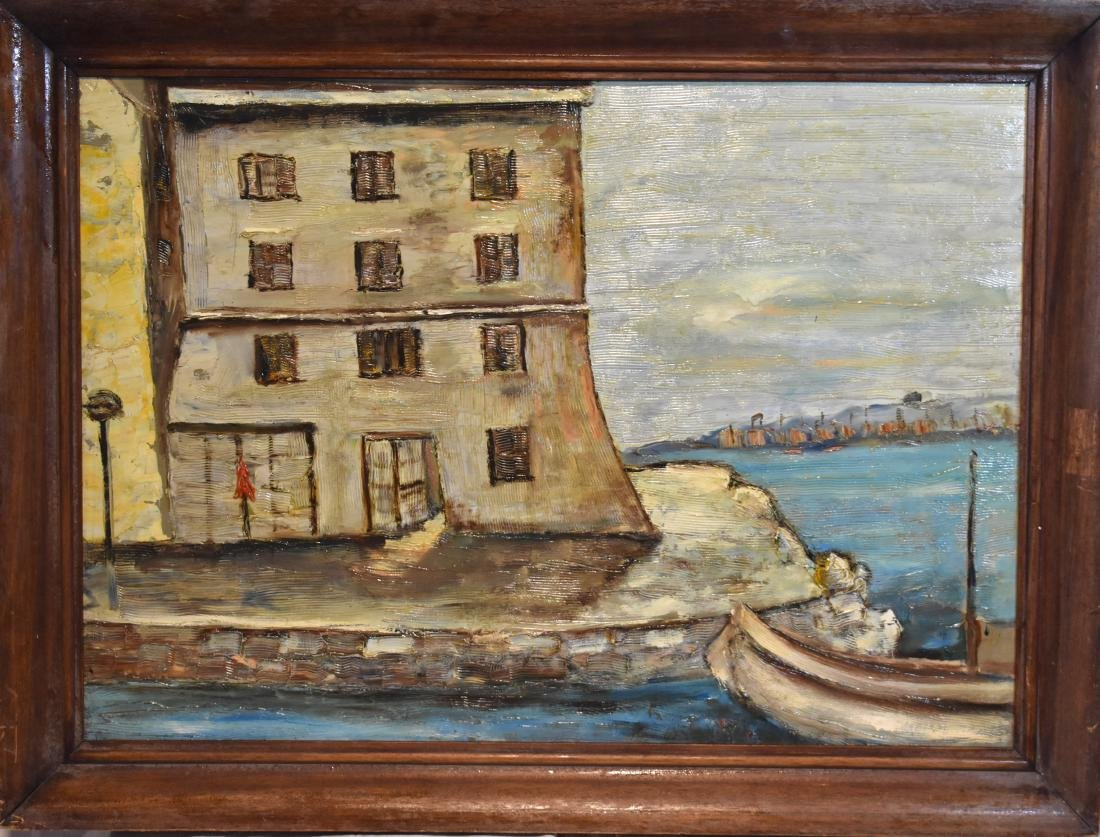 Oil picture, old, European,  combined work, signed,