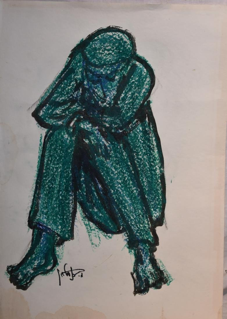 Crayon picture on paper, size: 70*50. signed by Moshe