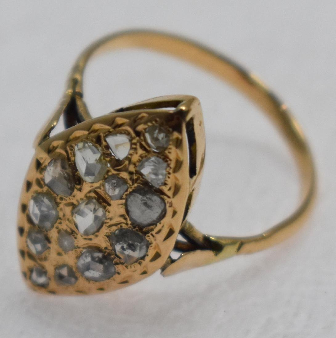 14k gold ring embedded with diamonds, 3.4 grams