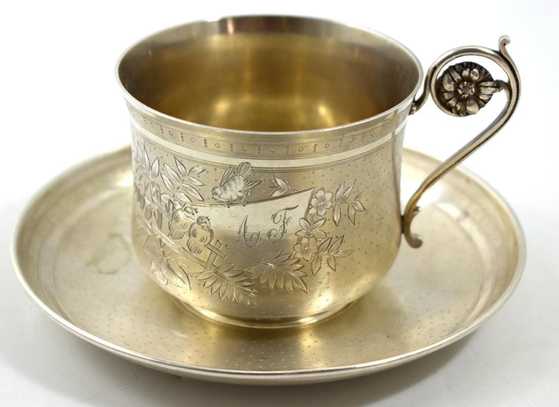 .  Kiddush set, cup with silver saucer, 999 hallmarked,
