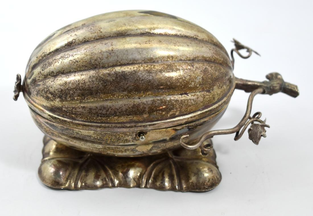 .  Etrog box, European 1880, handmade, silver plated,