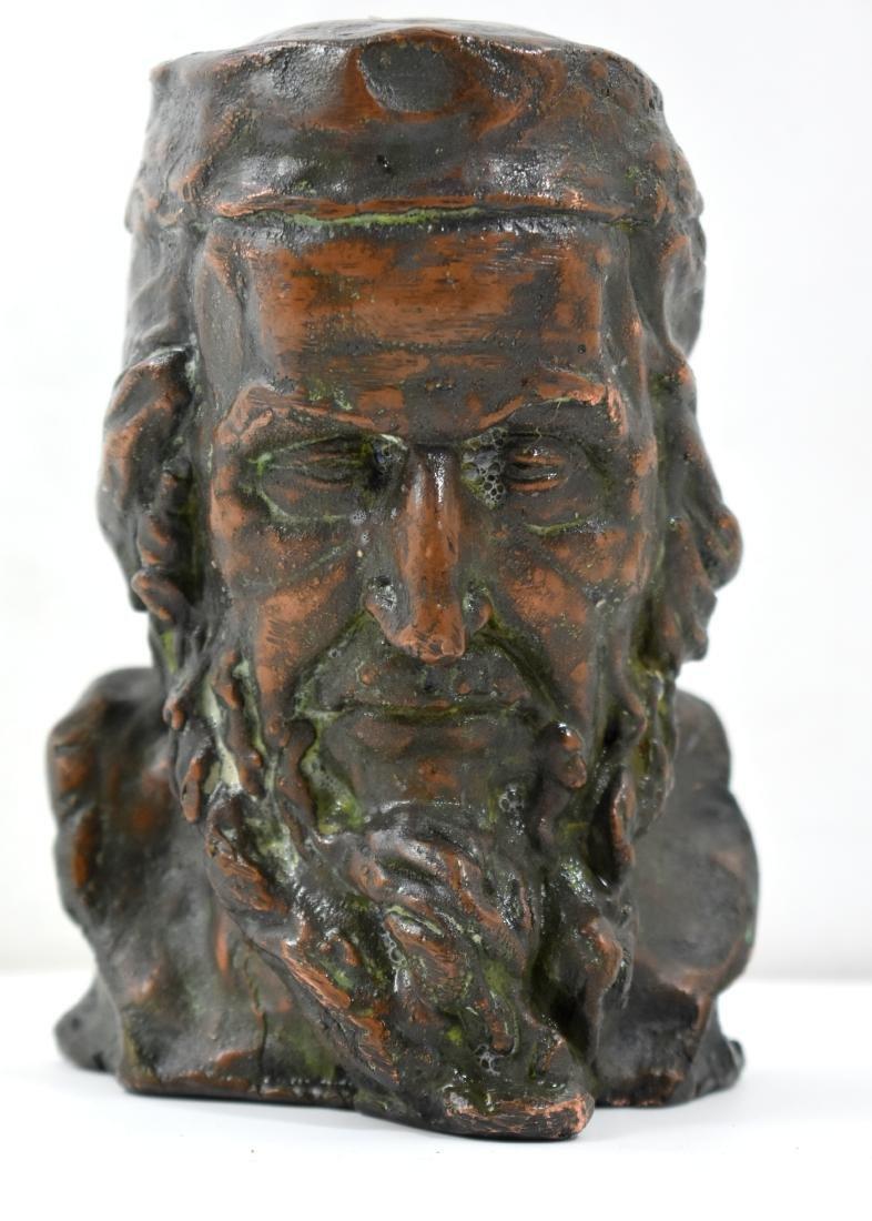 . old bronze statue, engraved of Rav Yisrael Eiger,