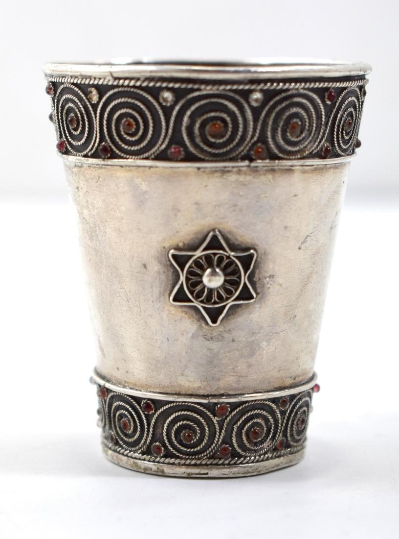 Bezalel silver cup, handmade, hallmark, height  6.5 cm,