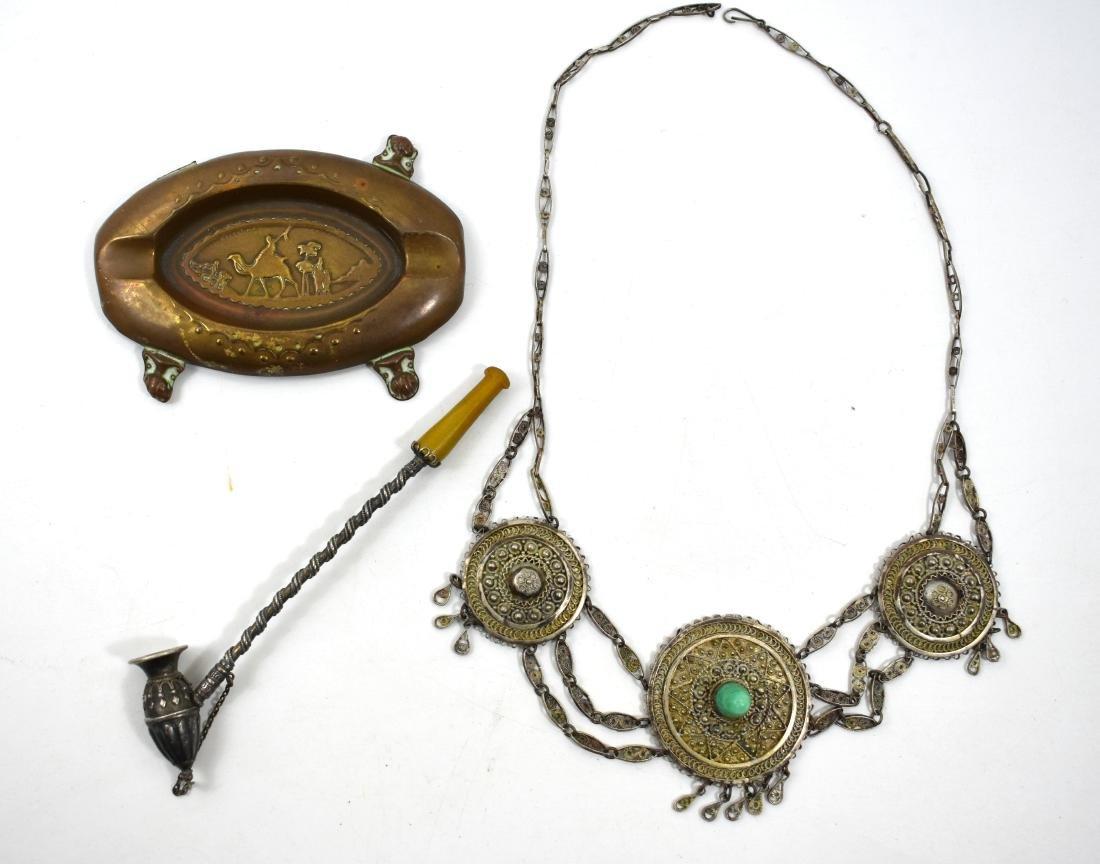 Bezalel 3 items, Palestine. Necklace , halllmarked