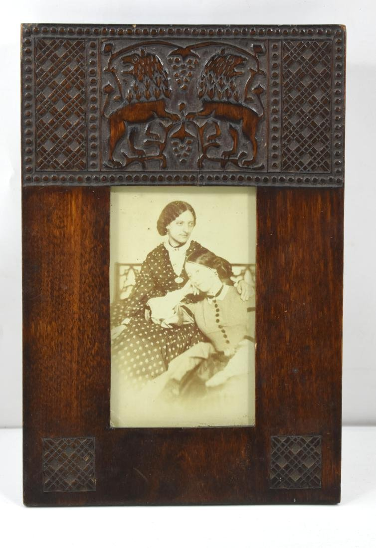 Olive wood frame, pair of lions, engraved, handmade,