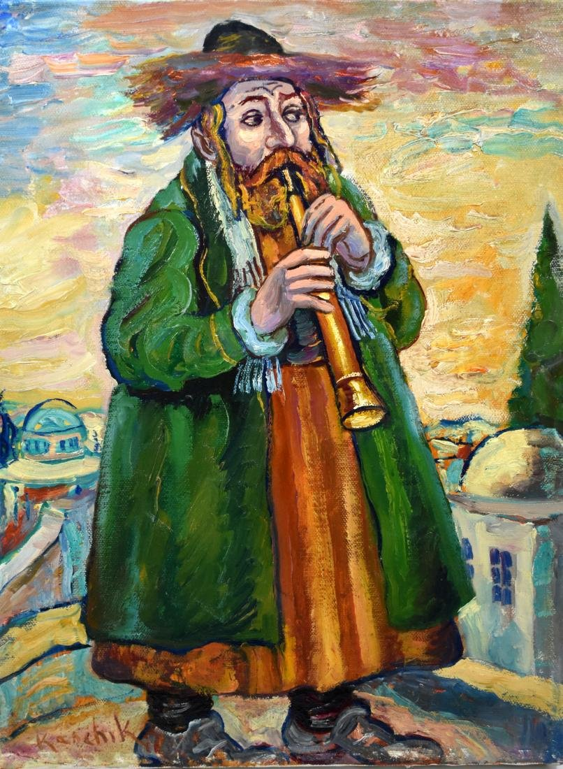 40.Oil painting on canvass, Hasid playing instrument,