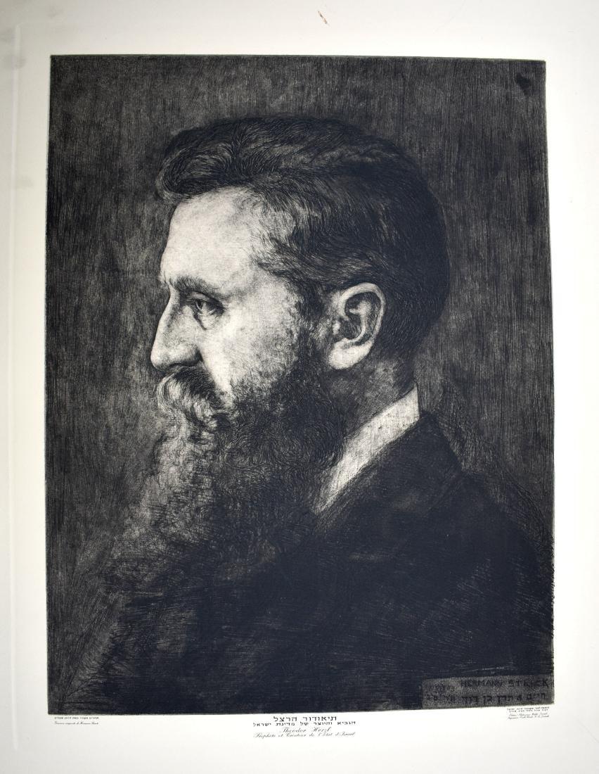 Herman Shtruck, etching of Binyamin Zeev Herzl,  size