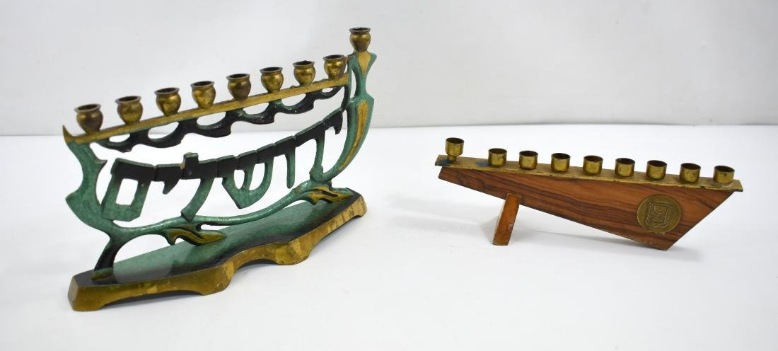 .  Pair of chanukiyot, one made of olive wood and the