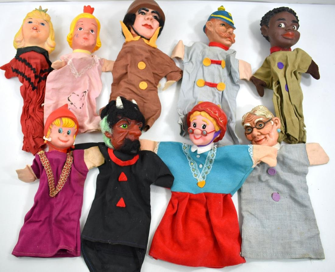 Collection of 9 puppet theatre dolls to be worn on the