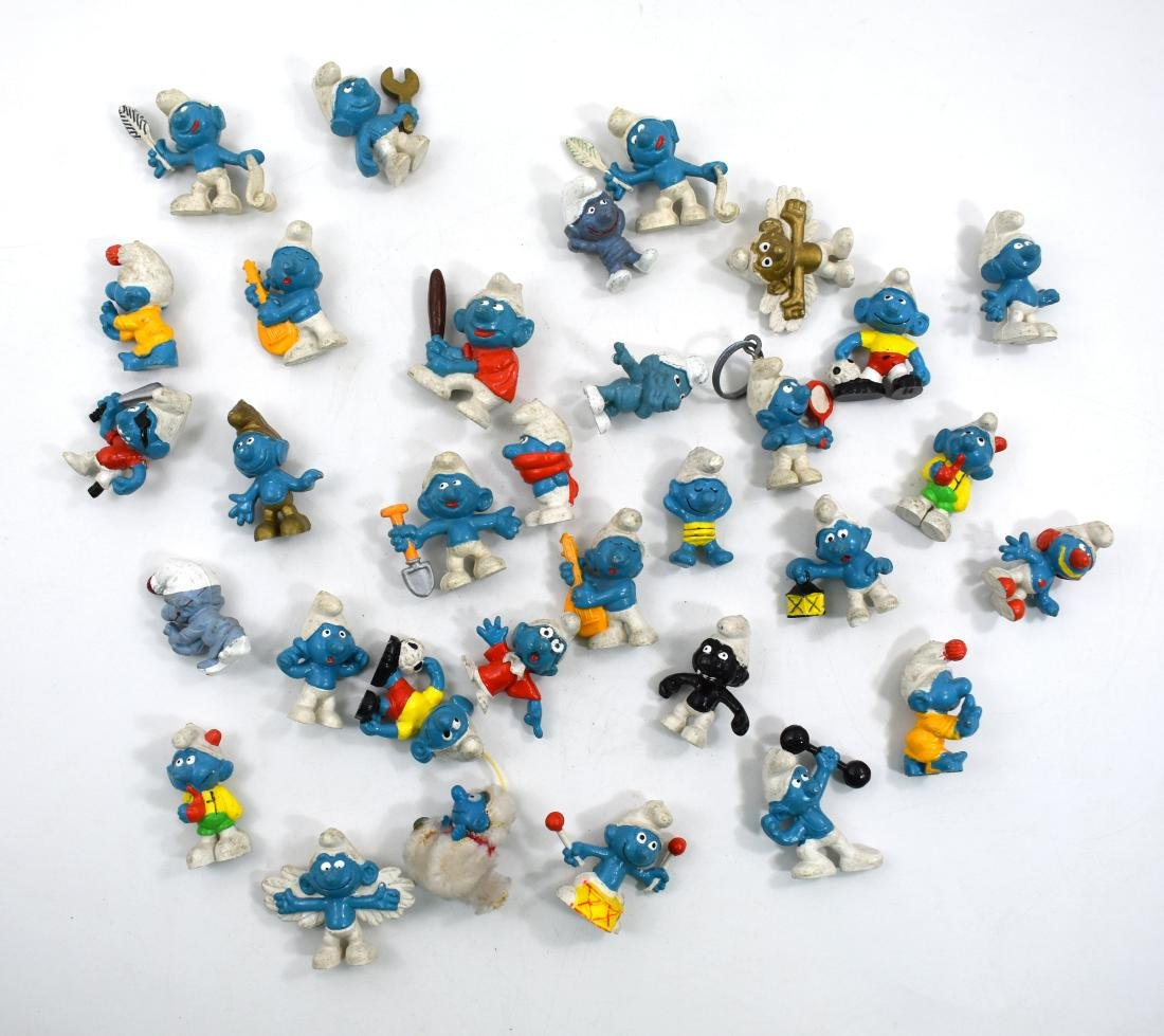 .  Collection of 32 different Smurfs