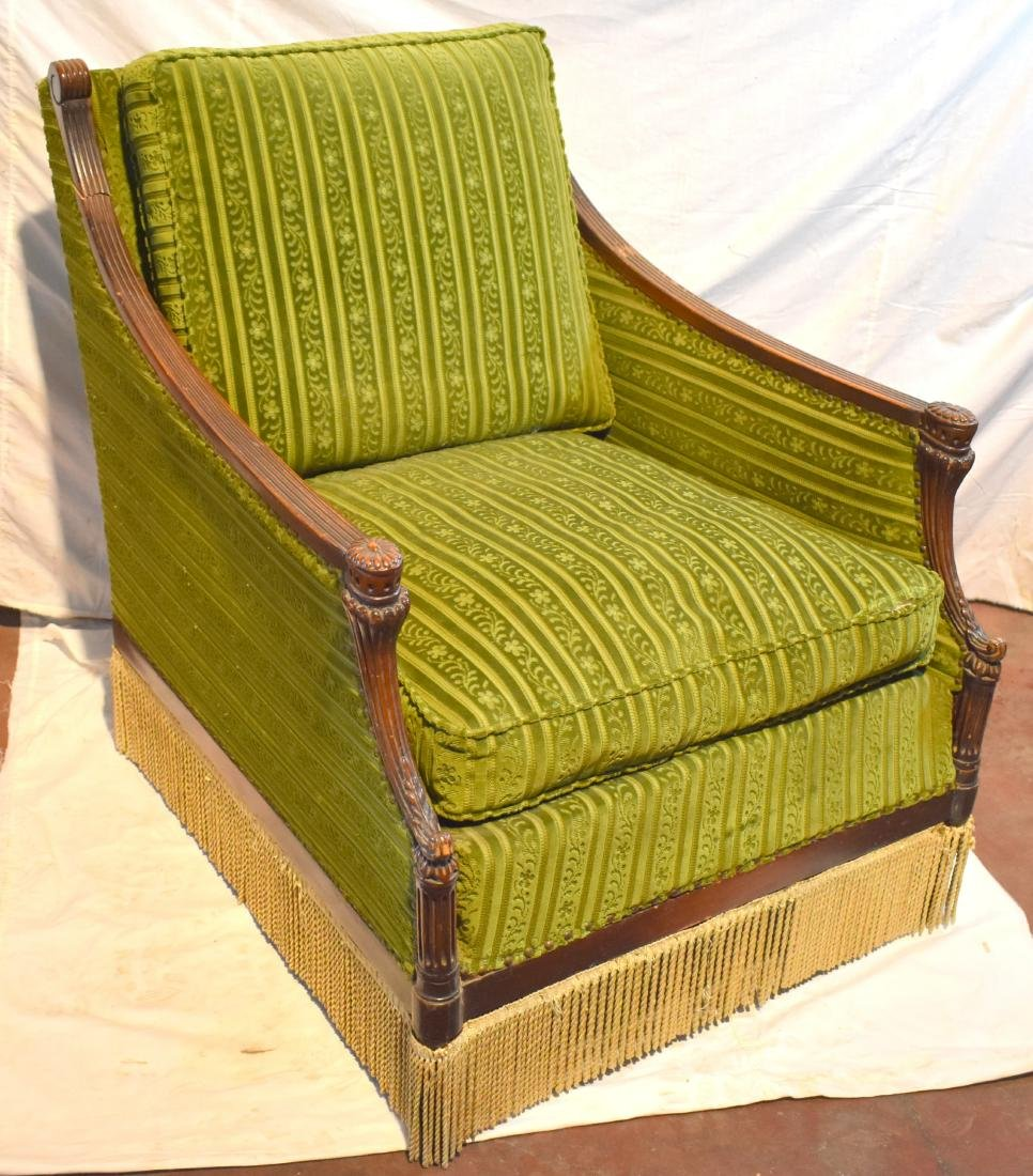 English armchair, from around 1900, reupholstered,